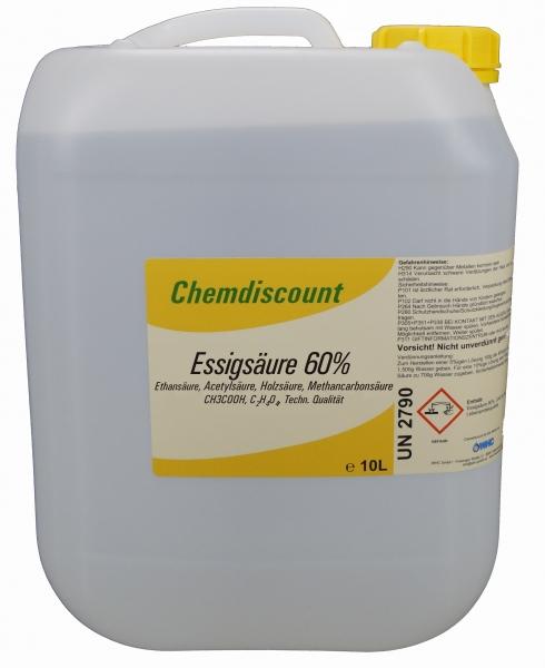 10l (ca. 10,65 kg) Essigsäure 60% (kein Versand ins Ausland möglich!), techn. Qualität