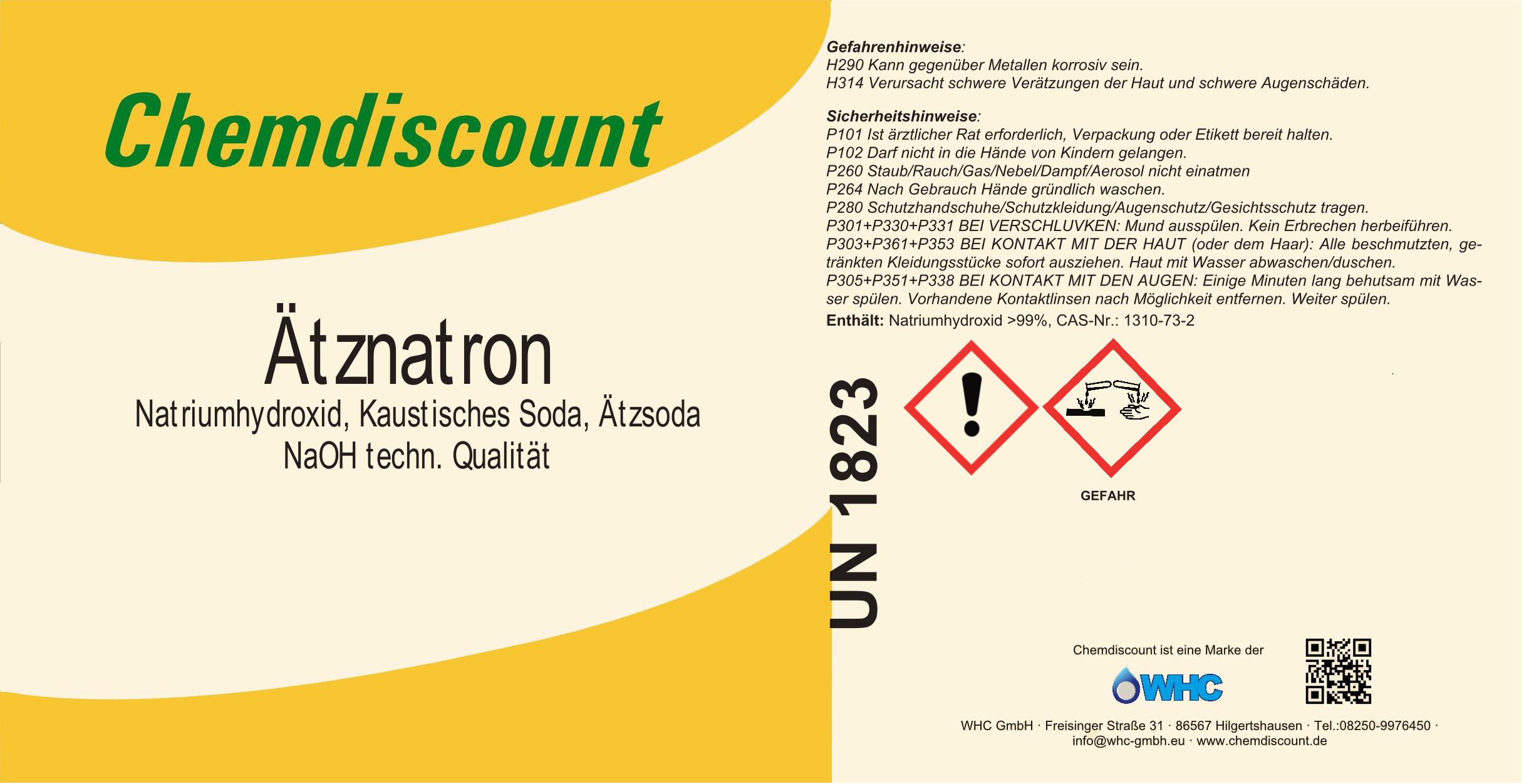 Natriumhydroxid Ätznatron kaustische Soda chemische Formel NaOH 1 kg