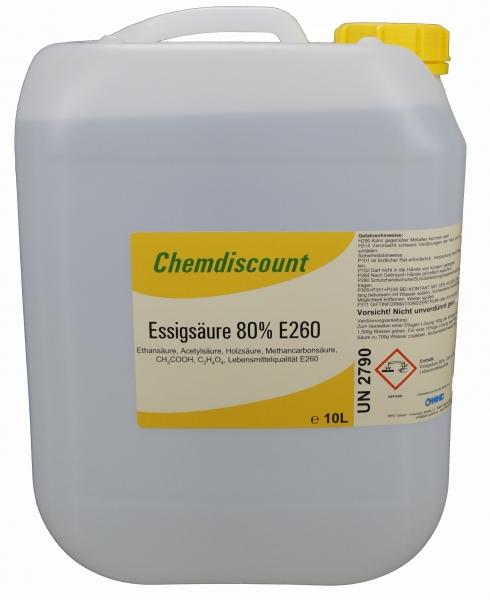 10Liter Essigsäure 80% in Lebensmittelqualität E260 (kein Versand ins Ausland!)