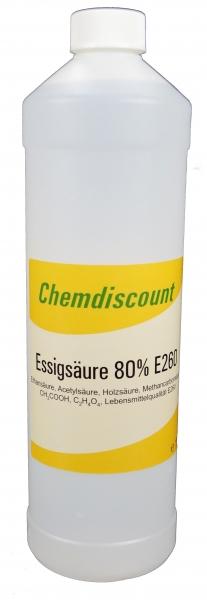 1Liter Essigsäure 80% in Lebensmittelqualität E260