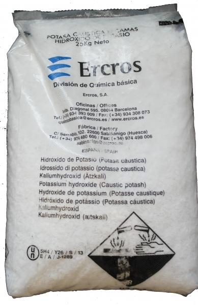 25kg Ätzkali (KOH Kaliumhydroxid kaustisches Kali) Feststoff Schuppen (kein Versand ins Ausland mög