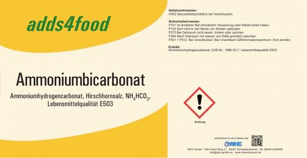 1000kg Ammoniumbicarbonat Lebensmittelqualität E503, nur für gewerbl. Kunden