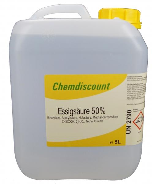 5Liter (ca. 5,25kg) Essigsäure 50%, techn. Qualität