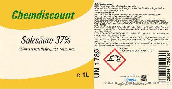 1Liter Salzsäure 37%, chem. rein