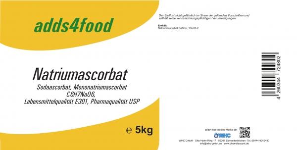 5kg Natriumascorbat in Pharmaqualität USP und Lebensmittelqualität E301