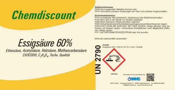 1000Liter Essigsäure 60% im Einweg IBC, nur für gewerbl. Kunden