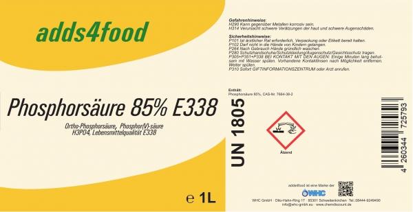 1L Phosphorsäure 85% in Lebensmittelqualität E338