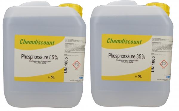 10Liter (2x5Liter, ca. 16kg) Phosphorsäure 85 %