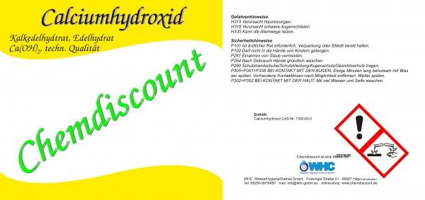 750kg (1 Palette) Calciumhydroxid Ca(OH)2, techn. Qualität, Edelkalkhydrat. gelöschter Kalk, versand