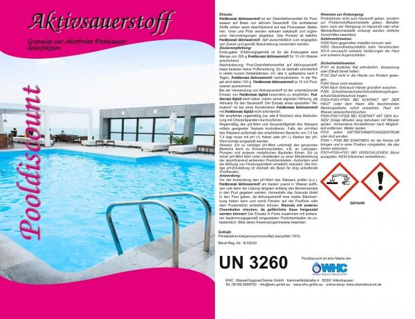 10kg (2x5kg) Aktivsauerstoff Pulver/Granulat zur Desinfektion von Schwimmbadwasser