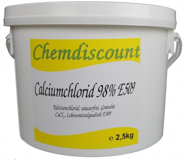 2,5kg Calciumchlorid CaCl2 (98%), wasserfrei, Lebensmittelqualität E509, Granulat, gekörnt